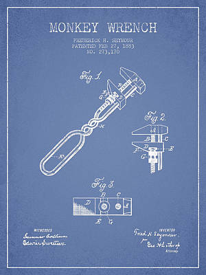 Monkey Drawing - Monkey Wrench Patent Drawing From 1883 - Light Blue by Aged Pixel