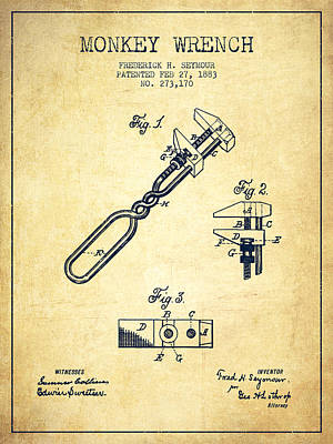 Monkey Drawing - Monkey Wrench Patent Drawing From 1883 - Vintage by Aged Pixel