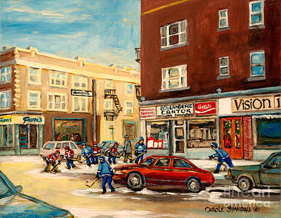 Monkland Street Hockey Game Montreal Urban Scene Print by Carole Spandau