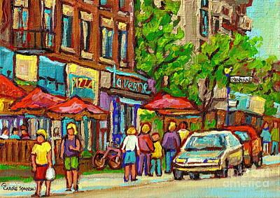Quebec Streets Painting - Monkland Taverne Monkland Village Paintings Of Montreal City Scenes Notre Dame De Grace Cafe Scenes by Carole Spandau