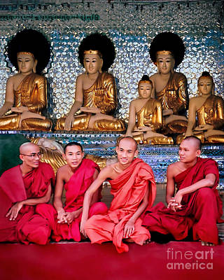 Sangha Photograph - Monks And Buddhas by Jennie Breeze