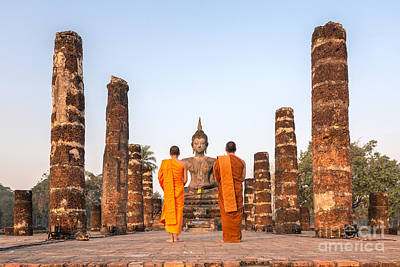 Monk Photograph - Monks In Front Of Wat Mahathat Temple - Sukhothai by Matteo Colombo
