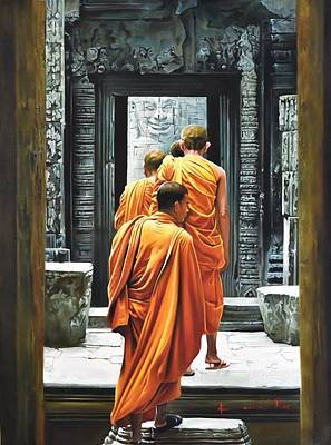 Lord Buddha Painting - Monks by Kamal  Rao