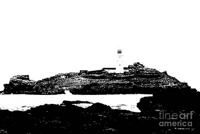 Monochromatic Godrevy Island And Lighthouse Print by Terri Waters