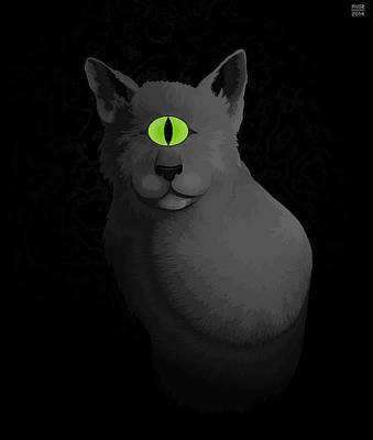 Cyclops Digital Art - Monochrome Cyclops Cat by John Ruiz