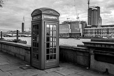 Old Phone Booth Photograph - Monochrome London Telephone by Pati Photography