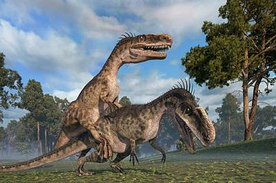 Paleozoology Photograph - Monolophosaurus Dinosaurs Mating by Roger Harris
