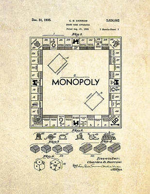 Monopoly Drawing - Monopoly Board Game Patent Art by Gary Bodnar