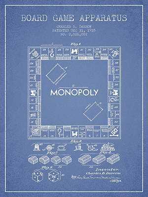 Monopoly Drawing - Monopoly Patent From 1935 - Light Blue by Aged Pixel