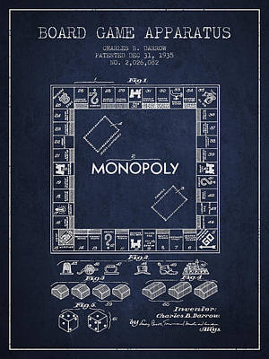 Monopoly Drawing - Monopoly Patent From 1935 - Navy Blue by Aged Pixel
