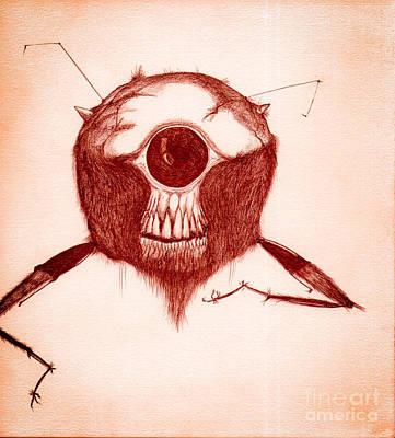 Antennae Drawing - Monster Drawing by Dan Julien