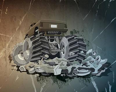 Grunge Drawing - Monster Truck Grunge by Frank Ramspott