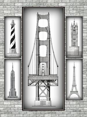 Empire State Building Drawing - Montage Five On Stone - Golden Gate Bridge by Gene Nelson