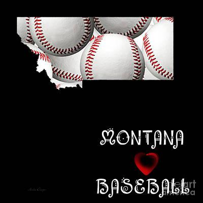 Baseball Digital Art - Montana Loves Baseball by Andee Design