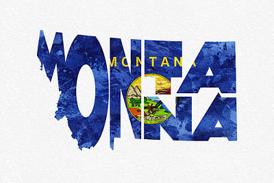 Steampunk Digital Art - Montana Typographic Map Flag by Ayse Deniz