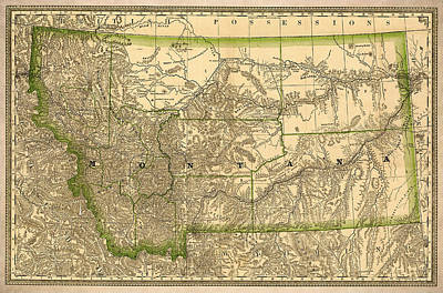Montana Vintage Antique Map Print by World Art Prints And Designs