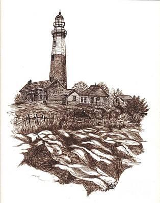 Sepia Ink Drawing - Montauk Lighthouse Long Island  N Y by Carol Wisniewski