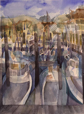 Montauk Marina Print by Lynne Bolwell