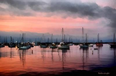 Row Boat Digital Art - Monterey Bay Pink Watercolor by Barbara Snyder
