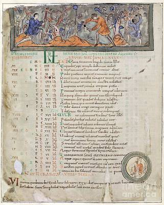 Month Of February, Anglo-saxon Calendar Print by British Library
