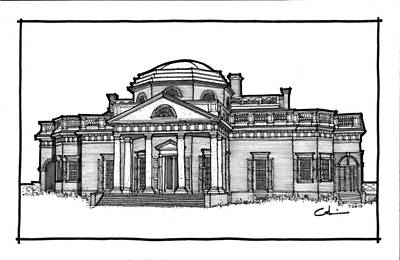 Thomas Jefferson Drawing - Monticello by Calvin Durham