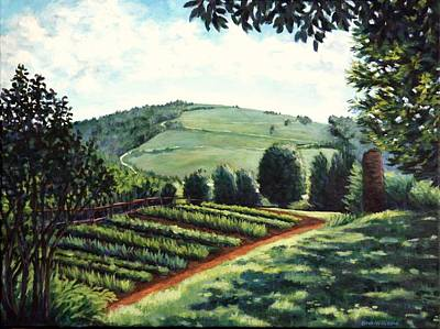 Trees Painting - Monticello Vegetable Garden by Penny Birch-Williams