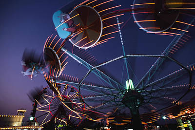 Montjuich Fun Fair At Night Print by George Wright