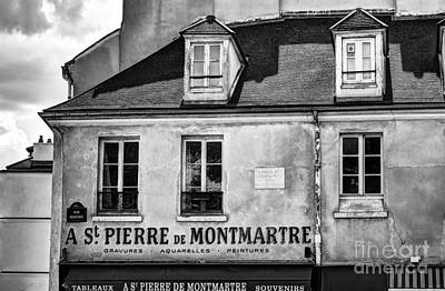 St Pierre Photograph - Montmartre In Paris 5 Bw by Mel Steinhauer
