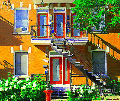 Montreal Memories Painting - Montreal Art Seeing Red Verdun Wooden Doors And Fire Hydrant Triplex City Scene Carole Spandau by Carole Spandau