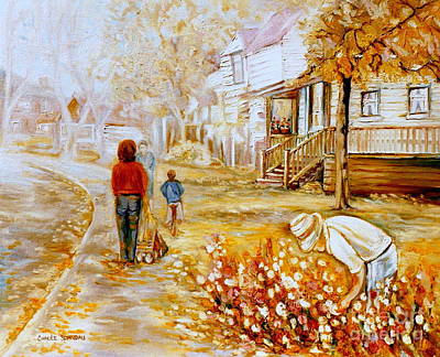 Baby Carriage Painting - Montreal Artist Paints Montreal City And Street Scenes by Carole Spandau