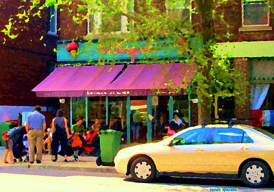 Montreal Cafe Scenes Beautiful Bilboquet On Bernard Creme Glacee Summer City Scene Carole Spandau  Print by Carole Spandau
