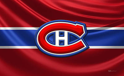 Montreal Canadiens Digital Art - Montreal Canadiens - 3d Badge Over Silk Flag by Serge Averbukh