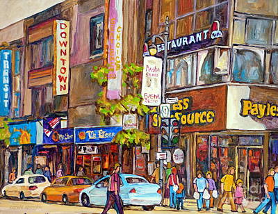 Montreal Storefronts Painting - Montreal Downtown Stores by Carole Spandau