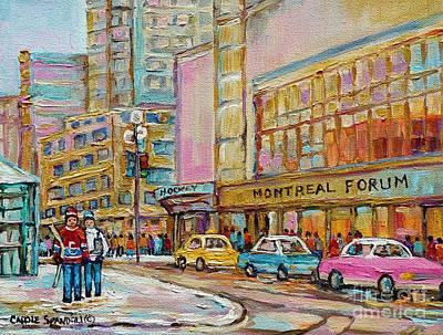 Hockey Rink Painting - Montreal Forum Canadiens Hockey Landmark Vintage Scene Carole Spandau by Carole Spandau