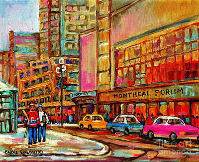 Montreal Forum  Winter Scene Paintings Snowy Day Downtown Strolling Atwater C Spandau  Print by Carole Spandau