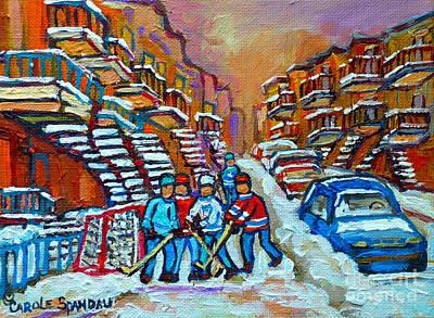 Montreal Hockey Paintings Streetscenes  Hockey Practice Scenes Carole Spandau Print by Carole Spandau