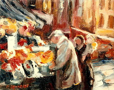 Point St. Charles Painting - Montreal Market Scene Marche Atwater by Carole Spandau