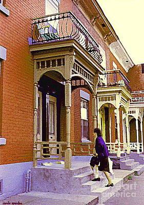 Depanneur Painting - Montreal Memories Pretty Plateau Porches Lady Climbs Front Steps By Bricks Balconies Home Cspandau   by Carole Spandau