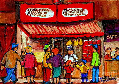 Montreal Memories Schwartz's Smoked Meat Nostalgic Vintage Scenes Heritage Landmark Classic Art Print by Carole Spandau