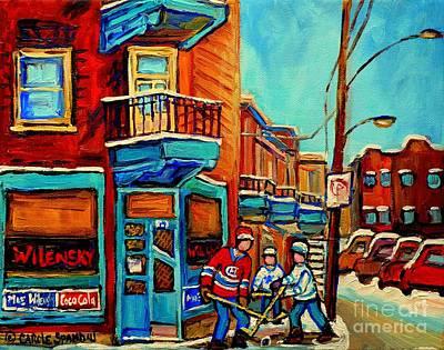 Montreal Streets Painting - Montreal Paintings Hockey Near Wilensky Doorway Montreal Winter City Scene Carole Spandau by Carole Spandau