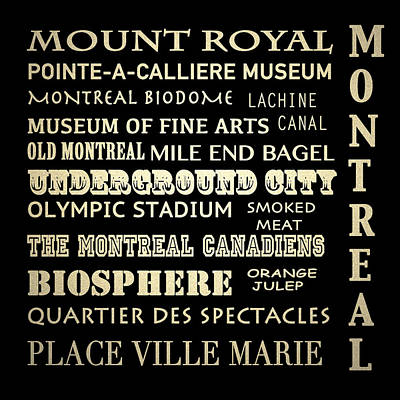 Orange Julep Digital Art - Montreal Quebec Famous Landmarks by Patricia Lintner