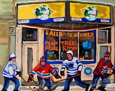 Montreal Pool Room City Scene With Hockey Print by Carole Spandau
