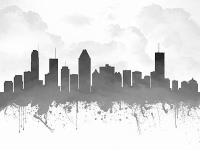 Montreal Cityscapes Digital Art - Montreal Quebec Skyline - Gray 03 by Aged Pixel