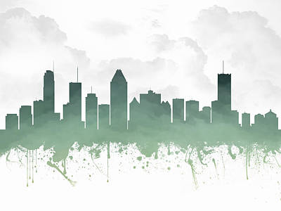 Montreal Cityscapes Digital Art - Montreal Quebec Skyline - Teal 03 by Aged Pixel