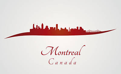 Montreal Landmarks Photograph - Montreal Skyline In Red by Pablo Romero