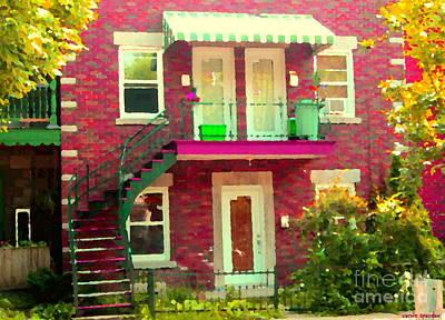 Montreal Stairs Painted Brick House Winding Staircase And Summer Awning City Scenes Carole Spandau Print by Carole Spandau