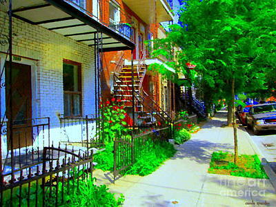 Montreal Stairs Shady Streets Winding Staircases In Balconville Art Of Verdun Scenes Carole Spandau Print by Carole Spandau