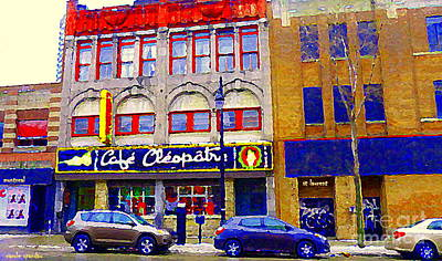 Montreal Memories Painting - Montreal Strip Club Legendary Cafe Cleopatra Queen Of The Main St Laurent Theatre Cityscene Cspandau by Carole Spandau