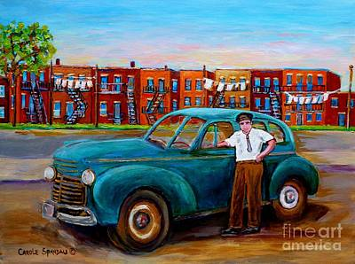 Montreal Streets Painting - Montreal Taxi Driver 1940 Cab Vintage Car Montreal Memories Row Houses City Scenes Carole Spandau by Carole Spandau