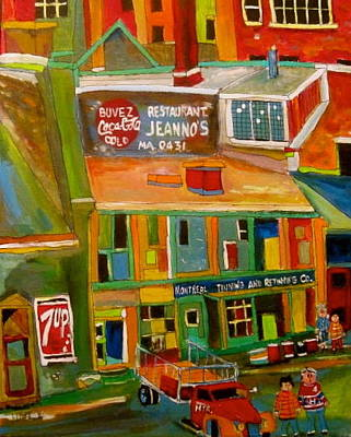 Litvack Naive Painting - Montreal Tinning Montreal Memories by Michael Litvack